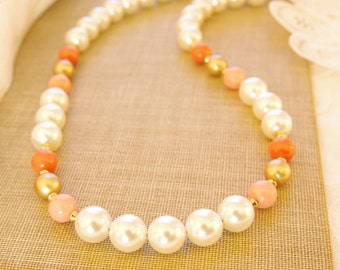 Pearl Coral Necklace Swarovski Pearl Beaded Necklace Peach Coral White Pearl Jewelry 14kt Gold Fill Peach White Bride Necklace Jewelry