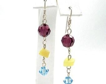 Swarovski Crystal Earrings Long Dangle Purple Amethyst Aqua Blue Yellow Jade Sterling Silver Summer Wedding Casual Bridesmaid Jewelry