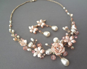 Brides jewelry set ~ Gold pearl necklace and earring set ~ Mauve ~ Champagne ~ Porcelain flowers ~ Freshwater pearls ~ Victorian ~ GORGEOUS