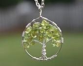 Peridot Tree of Life - Heart Chakra - Fourth Chakra - Sterling Silver