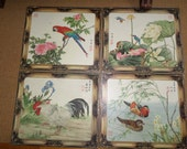 Placemats/Vinyl/Vintage/6 Japanese/Geisha/PARROTS/MANDARIN DUCKS/Placements/Two Sided/Washable
