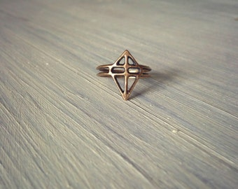 RUUTI Ring -  bronze / recycled sterling silver handcarved design ring available in dark oxidized