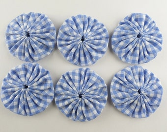 Blue fabric yoyos, 6 large round appliques in blue gingham, 2 inches wide, all cotton fabric, hand made craft supply by a UK seller.