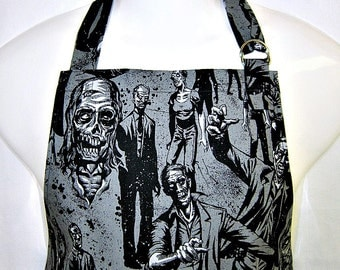 Apron Mans, ZOMBIE APOCALYPSE in Black & GREY, Alexander Henry, Chefs Style Grill Unique Kitchen Gift