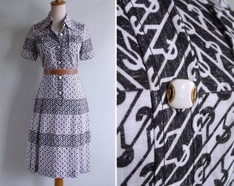 Vintage 70's 'Hook Line & Sinker' Black and White Op Art Dress XS or S