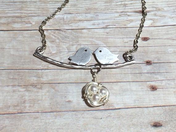 Bird Necklace Women's Gift Nest Gift For Her Lovebird Necklace Anniversary Gift Mom Girlfriend Sister