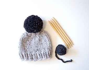 Expectant Mother Gift // Baby Hat // Baby Beanie // Chunky Knit Baby Hat // Baby Hat With Pom Pom // Chunky Knit Baby Beanie // Kids Hat