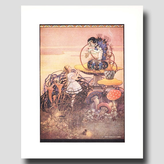 "Alice in Wonderland Hookah Pipe (Vintage Fantasy Art Print, Art Deco Decor) --- ""Caterpillar"" No. 75"