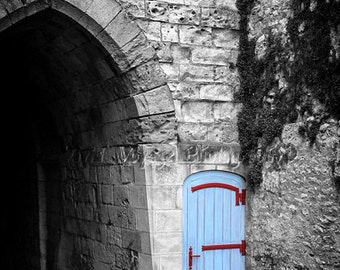 Castle Door Photo, Black and White With Color, Architecture Photography, Blue Decor, French Door Photo, Country French, Wood Door Photo, Art