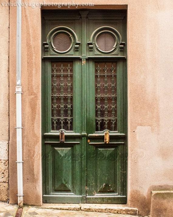 French door photo architecture print green home decor door for Green french doors
