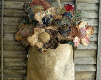 Primitive Quilt Flowers with vintage feed sack bag - great primitive summer flower display, Mother's day