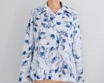 Vintage blue blouse, womens 70s clothing, long sleeve top, 60s secretary blouse - medium