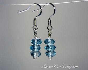 Blue Topaz Quartz Earrings, Triple Stack Gemstone Rondelles on Sterling Silver French Ear Wires