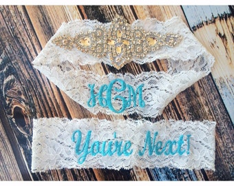 Vintage Inspired and You're Next GARTER Set / Vintage inspired / Something Blue / initials garter / lace garter / toss garter / Lace garter