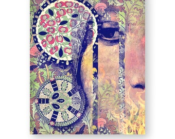 """Boho Ethereal Art Print, Mixed Media Collage Art, Mod, Psychedelic, Abstract Art,  8 x 10 """"Confession"""""""