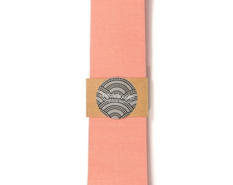 "2.75 "" Coral  necktie - Wedding Mens Tie Skinny Necktie organic cotton"