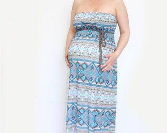 Maternity Aztec Print Strapless Jersey Maxi Dress, Blue Summer Dress,Pastel Hersey Dress, Expecting a baby Dress