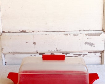 Vintage Mid-Century Burroughs Red Clear Bread Box