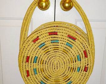 Vintage Straw Bag Woven Large Round Bag Purse Beach Bag Tote Diaper Bag