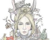 Alice in Wonderland 8x8 Framable print featuring original artwork - Lewis Carroll