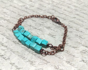 The Jennifer - Layered Boho Copper Bracelet with Natural Turquoise Square Stone