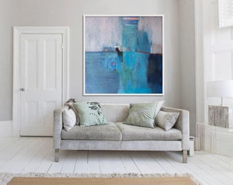 "large ABSTRACT print of painting, blue painting print, giclee print, ""Blue Landscape"""