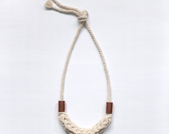 rustic natural cotton cord necklace with metal tubes / adjustable lenght