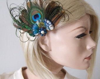 "Natural Peacock Brown Blue Nudes Feathers Fascinator Hair Clip ""Alloma"" FG0104 - Woodland Rustic Wedding Accessory - Bridesmaids - Bride"