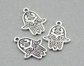 SALE Hamsa Charms Hamsa Hand Antique Silver 6pcs zinc alloy beads 18X24mm CM0787S