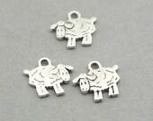 Sheep Charms Antique Silver 8pcs zinc alloy beads 14X14mm CM0957S