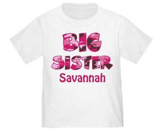 Big Sister Pink Camo Camoflauge Personalized T Shirt