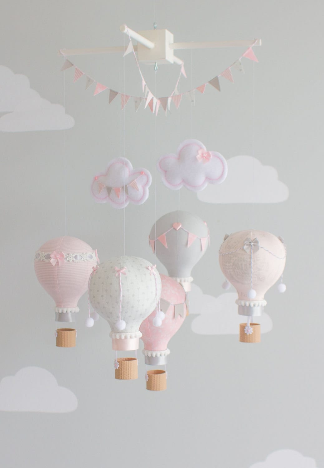 baby mobile pink and grey nursery mobile pink and grey