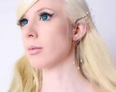 Ear Cuff Elf Ears Lady of Light Wing Ear Cuff Swarovski Crystals Pearls