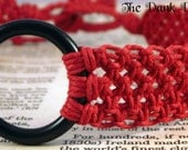Red Macrame Hemp Collar, Red BDSM Collar, Red Slave Collar, Red Submissive Collar, Kink Jewelry, Fetish Jewelry, Bondage Collar
