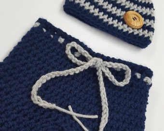 Crochet Baby Boy Striped Hat with Matching Longies Pants Photography Prop Set, Sizes Newborn and Infant - Soft Navy & Grey
