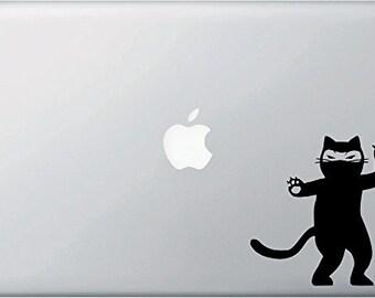 "MB - Ninja Cat - Shuriken - D1 - Laptop Window Computer Vinyl Decal - Copyright © 2015 - Yadda-Yadda Design Co. (4""w x 4.5""h)"