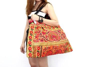 Oversized Orange Tangerine Tote Bag Hill Tribe Handmade (BG141-OC)