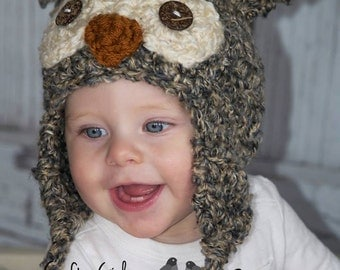 Crochet Owl Hat Multiple sizes available.- Great photo prop