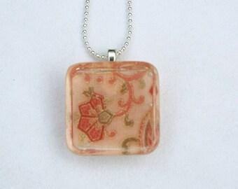 Peach Floral Fabric Scrap Resin Pendant