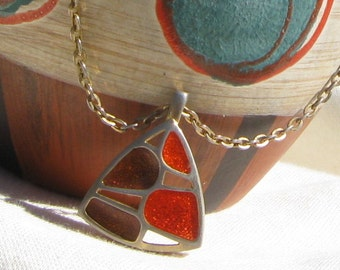 Mod 70s Pendant Necklace Enameled Orange & Brown Vintage Jewelry