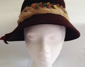 Vintage Fur Felt Chocolate Brown Feathers Hat 1940s 50s
