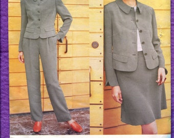 Vogue 1937 Designer Anne Klein Chic Jacket  Fitted Straight Leg Pants Sizes 8 10 12 UNCUT