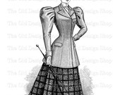 Victorian Lady modelling Outdoor Toilette Instant Download PNG Clip Art Transfer Image