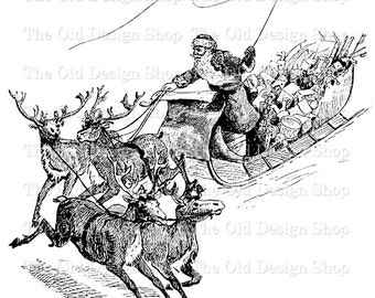 Santa And Sleigh Etsy
