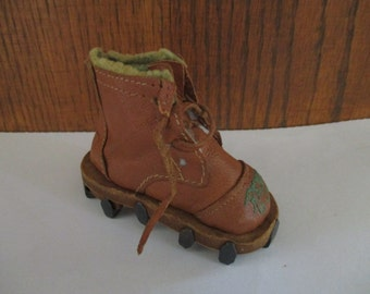 Vintage Miniature Logging Boot Souvenir RENO Nevada Ice Boot Brown Faux Leather, Metal Cleats, Shoe, Work Boot