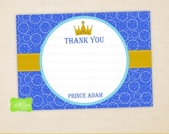 Prince Thank You Card - Little Prince Thank You Card - Gold Crown Note Card - Personalized Note Card - Emailed or Shipped Available