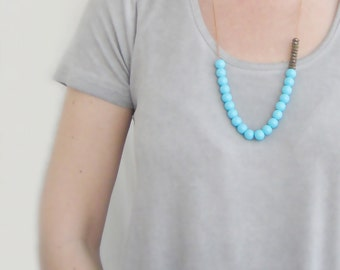 Pastel Turquoise Necklace, Beaded Necklace, Long, Adjustable, Statement, Glass, Boho