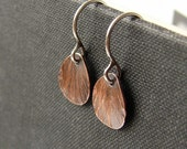 Small drop earrings. Patina copper petals on silver ear wires. Delicate boho jewelry.
