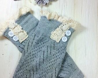 baby girl leg warmers lace legwarmers gray grey ivory leg warmers ivory knit lace trim legwarmers photo prop baby legwarmers