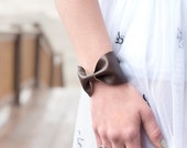 Bow Cuff Bracelet, Gift for Her, Brown Wide Faux Leather, Wrist Scarf Cuff, Doctor Who Tie Wide Womens Tattoo Covers, Cover Up, Jewelry,